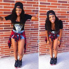 Pretty Girl Swag Dope Urban Streetwear Fashion Outfit Style Trend Stylist Fashionista Black Top Denim Jeans Dunagree Red Plaid Tie Around Waist Shirt Jordan Sneakers Trainers SnapBack Cool Retro Tomboy Fashion, Hip Hop Fashion, Dope Fashion, Fashion Killa, Urban Fashion, Teen Fashion, Fashion Models, Swag Fashion, Celebrities Fashion