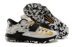 on sale 47b2f 5654f Mens Black Nike Shoes Zoom Kd 7 Vii 2015 New Releases White Gold Special
