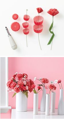 How to make cupcake liner flowers. Pretty and so creative.