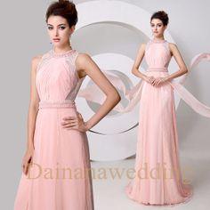 Pink Halter Beaded Lace Chiffon  Evening by Dainanaweddingitems, $178.00