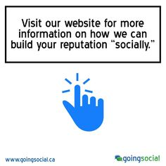 """Going Social is Toronto's premier social media marketing company guaranteed to teach you the RIGHT facts about #socialmedia. We specialize in driving business growth through strategic social media marketing initiatives. Visit our website for more information on how we can build your reputation """"socially."""" www.goingsocial.ca"""
