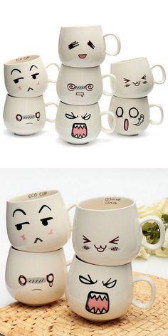 Cute Expression Ceramic Cups