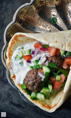 Mediterranean Meatball Gyros Sandwiches by Life Tastes Good are full of flavor and very satisfying! Using simple flavors often found in Greek cuisine, this unique recipe puts a twist on a traditional gyros recipe. Makes a tasty dinner or appetizer recip Mediterranean Dishes, Mediterranean Diet Recipes, Traditional Gyro Recipe, Best Ground Beef Recipes, Gyros Recipe Ground Beef, Lamb Gyro Recipe, Greek Dishes, Cooking Recipes, Healthy Recipes