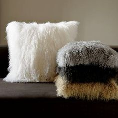 "Mongolian Sheep Shaggy Faux Fur Throw Pillow 18"" x 18""  - Choose your color. $42.00, via Etsy."