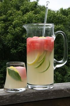 TGIF - Lemon watermelon and Basil Lemonade