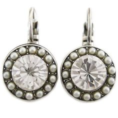 Mariana Silver Plated Round Disc Small Swarovski Crystal Earrings, Crystal Pearls 1129 M48001. Available at www.regencies.com