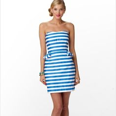 """Flash Sale Lilly Pulitzer dress  This blue and white stripe Lilly Pulitzer dress was only worn a handful of times and is in """"like new"""" condition. Smoke free and pet free home.  This is the perfect dress for Memorial Day or 4th of July!  Lilly Pulitzer Dresses Strapless"""