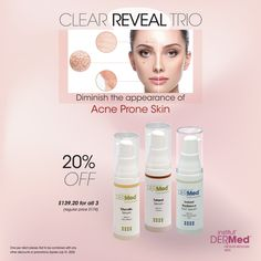 A spotless complexion combination for all skin types from Institut' DERMed. The Clear Reveal Trio includes:  -Totarol Serum: A super antioxidant purifying serum with Totarol and Tea Tree Oil.  -Glycolic Serum: This AHA serum decongests clogged pores with Glycolic Acid and Sodium PCA.  -Instant Radiance EGF Serum: A superior hydrating serum with Comfrey Stem Cells and Epidermal Growth Factor. Aha Serum, Epidermal Growth Factor, Spa Prices, Kids Spa, Skin Care Clinic, Hydrating Serum, Spa Deals, Alpha Hydroxy Acid, Clogged Pores