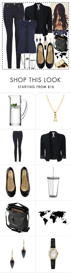 """""""Study Break"""" by dev-lynn ❤ liked on Polyvore featuring Pori, 7 For All Mankind, Lipsy, H&M, WALL, Jérôme Dreyfuss, Lori Kaplan Jewelry, Timex and Oasis"""