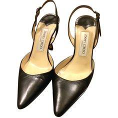 Pre-owned Jimmy Choo Peru Black Pumps (280 CAD) ❤ liked on Polyvore featuring shoes, pumps, black, black slingbacks, black pumps, black sling back pumps, slingback shoes and leather pumps