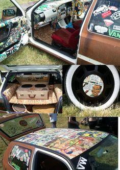 ratlook #VWGolfMk1Interior Volkswagen Golf Mk1, Airbrush Designs, Rat Look, Sticker Bomb, Car Mods, Car Tuning, Cool Stickers, Vw Beetles, Custom Cars