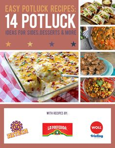 Easy Potluck Recipes: 14 Potluck Ideas For Sides, Desserts and More | Recipes by Azteca, La Preferida, and Woll. These share-worthy potluck dishes will make you the potluck MVP! Check out this free eBook.