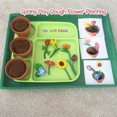 Preschool Spring Flower Planting Play Dough Activity - Fun with Mama