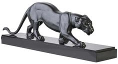 R. ROCHARD ART DECO PATINATED FIGURE OF A PANTHER, CIRCA 1930 Abstract Sculpture, Sculpture Art, Black Panther Tattoo, Art Nouveau, Cat Statue, Abstract Animals, Lion Art, Animal Sculptures, Panthers