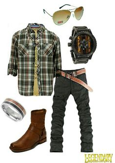 Sunglasses, light brown round neck t-shirt, stiped brown shirt, necklace, ring, watch, black jeans, brown leather belt, brown boots
