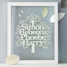 personalised family tree papercut by kyleigh's papercuts   notonthehighstreet.com