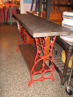 I have 2 old sewing machines in the garage. I hope the legs will work for something like this.