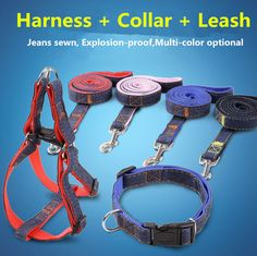R9 New Jean Pet dog Leash Traction Rope Denim Puppy dog harness Dog Collar Dog Training Safety Lead for Chihuahua