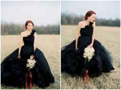 black tulle + boots + one shoulder = adorable wedding dress for the off beat bride