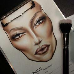 nice facechart by Barbara Niemczyk M.C makeup artist Poland. Mac Makeup Artists, Mac Face Charts, Hand Makeup, Mac Makeup Looks, Makeup Illustration, Makeup Face Charts, Freelance Makeup Artist, Makeup Course, Face Facial