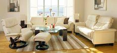 Stressless Large Paradise Highback Loveseat, Low back Sofa; Stressless Spirit Recliner; Pegasus Coffee Table; Corner Tables