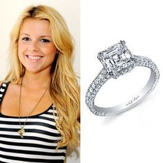 Ali Fedotowsky wears a Neil Lane engagement ring from Roberto Martinez featuring a three-carat Asscher diamond accented with 184 round brilliant cut diamonds. Estimated value?