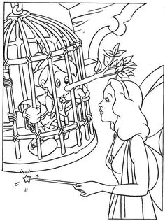 Free Coloring Pages of Pinocchio Print. Pinocchio with fairy fairy tale coloring page free to print out and colorize. Here is a free coloring page with the theme fairy tales. Cool Coloring Pages, Disney Coloring Pages, Coloring Pages To Print, Printable Coloring Pages, Coloring Pages For Kids, Coloring Books, Pinocchio, Faith Crafts, Adult Coloring Pages