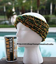 Green Bay Packers knit headband,green knit ear warmer,yellow turban knit headband,packers knit headband,yellow knit ear warmer, team spirits by CampCousinsCrafts on Etsy