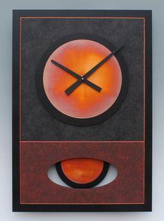 Red Walid Pendulum Clock by Leonie Lacouette (Wood & Metal Clock) | Artful Home