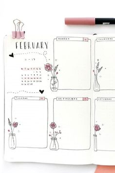 Bullet Journal Weekly Spread Ideas for February .- Bullet Journal Weekly Spread Ideas for February # for - Bullet Journal School, February Bullet Journal, Self Care Bullet Journal, Bullet Journal Aesthetic, Bullet Journal Notebook, Bullet Journal Ideas Pages, Bullet Journal Spread, Bullet Journal Layout, Bullet Journal Inspiration