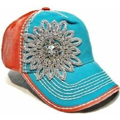 Olive & Pique Women's Beaded Flower Applique Baseball Cap- Aqua