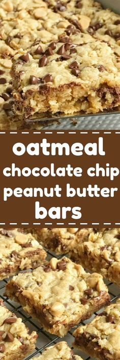 Oatmeal chocolate chip peanut butter bars are a family favorite dessert recipe that everyone loves. Soft cookie bars loaded with oatmeal, peanut butter, peanut butter chips, and chocolate chips. These are a peanut butter & chocolate lovers dream Brownie Desserts, Desserts Keto, Dessert Oreo, Coconut Dessert, Low Carb Dessert, Mini Desserts, Dessert Bars, Delicious Desserts, Yummy Food