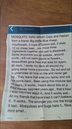 I'll try anything to get rid of mosquitos! Homemade Mosquito Spray For Yard Homemade Mosquito Spray, Mosquito Yard Spray, Mosquito Trap, Home Made Mosquito Repellent, Anti Mosquito, Insecticide, Tips & Tricks, Insect Repellent, Fly Repellant