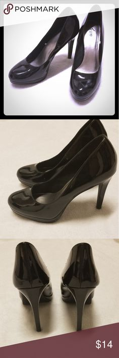 Black Patent Pumps from Fioni- 8.5M Like new condition, have only been worn a handful of times and no longer get out to many events needing fun, sexy heels like these. 8.5M, 4 inch heel with 1/2 inch platform, black heels. Patent faux leather upper material and covering heel. No dings or scratches to material. They're needing a new home for someone to wear for more fun than my lifestyle post mommyhood.  Ships from a smoke free home. FIONI Clothing Shoes Heels