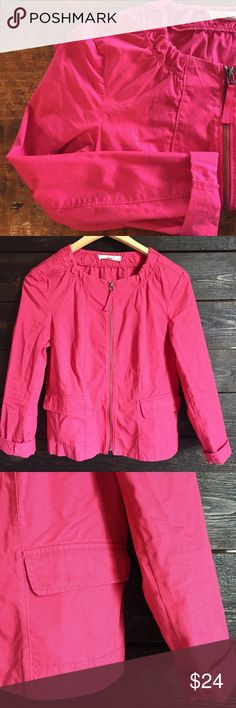 Hot Pink Zip Up Jacket Hot pink zip up jacket. Two utility pockets on front, peplum back. Cotton and spandex blend. Small stain on back of arm. LOFT Jackets & Coats