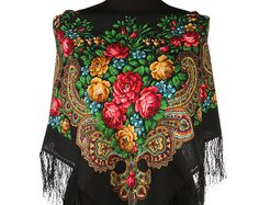 Red floral scarf, Pavlovo Posad scarf  Beautiful womens shawl in Russian style a la russe Beautiful wool scarf that should be your everyday
