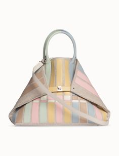 Akris® Official – Medium Shoulder Tote Bag in Canvas with Applied Calf Leather Stripes Brand Name Bags, Michael Kors Collection, Canvas Leather, Calf Leather, Louis Vuitton Damier, Calves, Gym Bag, Shoulder Strap, Stripes