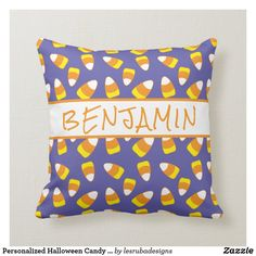 Personalized Halloween Candy Corn Throw Pillow Halloween Pillows, Halloween Candy, Candy Corn, Custom Pillows, Party Hats, Your Design, Art Pieces, Throw Pillows, Make It Yourself