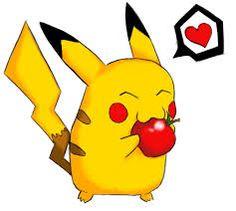 Pikachu mange un pomme pour petite dejeunes a peu pres sept heurs et quart.