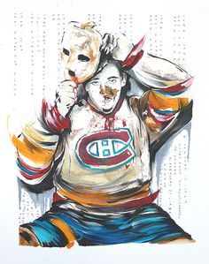Artwork - Jacques Plante removing his mask by Mark Penxa Hockey Goalie, Hockey Mom, Hockey Players, Montreal Canadiens, Nhl, Montreal Hockey, Goalie Mask, Canadian History, Mask Design