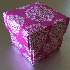 Origami Box Pink Small Fabric Origami Gift by ColieArtBooksnBoxes