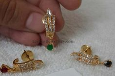 Simple Earrings for Kids and Adults Diamond Earrings Indian, Indian Jewelry Earrings, Kids Earrings, Jewelry Design Earrings, Gold Earrings Designs, Small Earrings, Gold Jewellery Design, Necklace Designs, Jewelry Necklaces