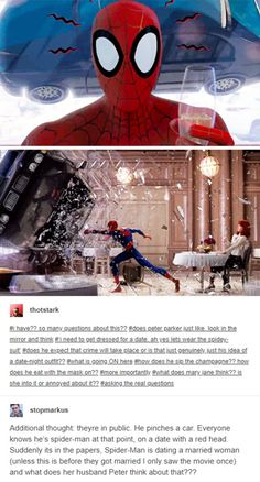 "Simple, this is before they got married and Mary Jane doesn't know he's spider man yet. She asked ""spiderman"" on a date, and Peter Parker doesn't want to let her down by revealing that spiderman is just her dorky next door neighbor. Marvel Funny, Marvel Memes, Marvel Dc Comics, Spider Verse, Tom Holland, Loki, Fandoms, Dc Memes, Marvel Cinematic Universe"