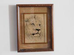 Dennis Curry Lion Wildlife Designs Photographed Glass 1976 Vintage Natural Ash | eBay