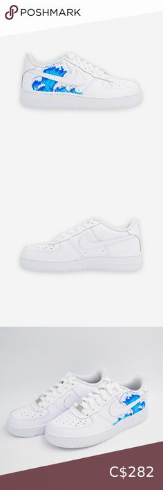 Nike Air Force Wave Limited supply Nike Air Force 1 Custom 'Available in all sizes for Men and Women.  For Womens sizes subtract 1.5 from your current size and select it, for example:  Women size 7 = 5.5 US Men Women size 8 = 6.5 US Men Women size 9 = 7.5 US Men Women size 10 = 8.5 US Men   All of our designs are handmade and made to order, we manage our orders professionally and use original high quality sneakers. Nike Shoes Sneakers Nike Shoes, Shoes Sneakers, Us Man, Nike Air Force, Nike Men, Size 10, Waves, Blue And White, Man Shop