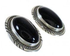 Navajo Onyx Sterling Silver Post Earrings www.silvertribe.com