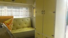 Original yellow interior in an Australian Vintage Caravan 1963 Valiant