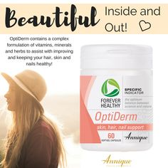 OptiDerm contains a complex formulation of vitamins, minerals and herbs to assist with improving and keeping your hair, skin and nails healthy! Beautiful Inside And Out, Science And Nature, Along The Way, Vitamins And Minerals, Hair And Nails, Health Benefits, Health And Beauty, Your Hair, Herbs
