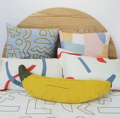 Banana Pillow in the Douglas & Bec store, Auckland Diy Pillows, Cushions, Douglas And Bec, Little People, Screen Printing, Bean Bag Chair, Industrial, Diy Projects, Kids Rugs