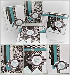 handmade card set fromThe Scrap Zone: What are you doing with your SCRAPS? ...  pack of patterned paper makes it easy to create cards with a unified look ... These are scraps from a pack, but I'd make sets of notecards with brand new sheets of coordinating papers to make cards as pretty as these are.   luv these cards!!